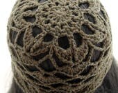 Crocheted Flower Mesh Hat. Adult. Beanie. Merino Wool. Olive.