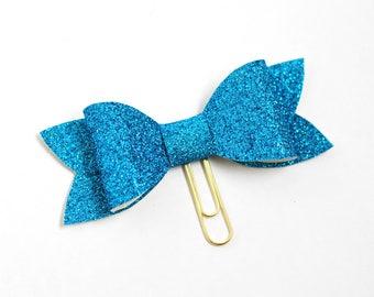 BIG Blue Glitter Bow Planner Clip / Bookmark