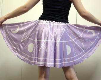 Angel Summoning Circle Skater Skirt - Pastel Goth Cute Purple Skirt - One Size and Plus Size