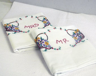 Pillowcases  - Embroidered - Standard Size - Cotton