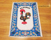 Vintage Portugal Rooster Tea / Hand Towel, Printed Cotton Linen