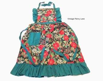 Vintage Full Apron, Printed Cotton, Christmas / Poinsettia