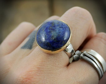 READY TO SHIP - Bright Blue Lapis Lazuli - Sterling and Brass Cocktail Ring - Size 7
