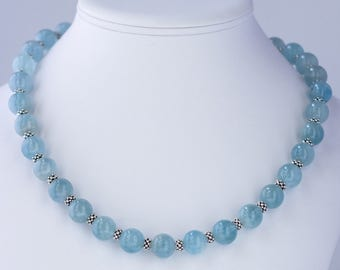 AAA Aquamarine and Thai Hill Tribe Silver Necklace