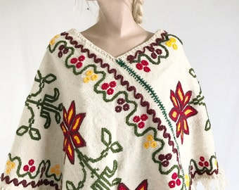 Vintage 70's Mexican Hand Embroidered Poncho