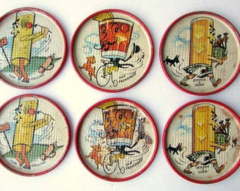 Set of 6 1940's Vintage Lithographed Tin Drinks Coasters, Scotch & Soda, Tom Collin, Old Fashioned Cocktail Coasters, Forties Bar Ware,