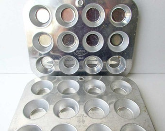 2 Vintage Mini Muffin Tins, Aluminum Bakeware, Kitchen Muffin Tins, Bead and Button Supply Containers, Bead Storage, Button Boxes