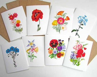 Set of 8 Blank Note Cards, Wildflowers Note Cards, 8 Different Flowers, Stationery, Any Occasion Cards, Greeting Cards