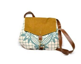satchel • waxed canvas crossbody purse • geometric floral print - aqua blue - hand printed - brown waxed canvas • cross body bag