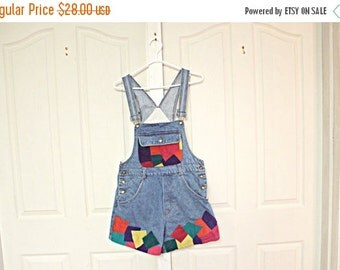 Sale Color block denim vintage suede overalls. Deadstock. hipster. patchwork. short shorts. ONLY 4 PAIRS LEFT.