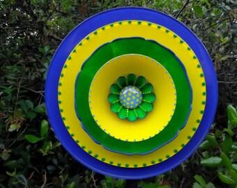 Yellow and Blue Hand Painted Glass Garden Plate  Flower Yard Art Sculpture