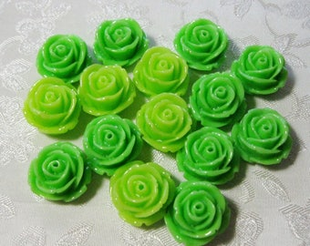 Drilled Shades of Green Lot Resin Rose Flower Beads with Hole 18mm CLEARANCE 943