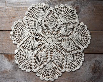 Antique Crochet Lace Doily, Crochet Lace, Vintage Crocheted Lace, Lace Doily, Vintage Textile, Sewing Supplies, Wall Decoration