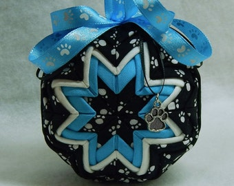 Quilted Paw Print Ornament