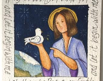 Peace Art Original Watercolor of Peace Dove and Angel with Easel Desk Art Watercolor Art Inspirational Art Peace Art