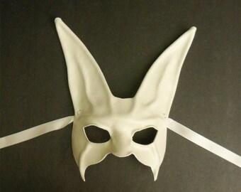 White Bunny Rabbit Leather Mask