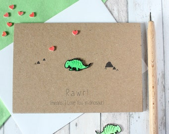 Cute Dinosaur Card Dinosaur Anniversary Card Dinosaur Engagement Card Rawr Means I love you Card Rawrsome Cute Dinosaur Wedding Card Dino