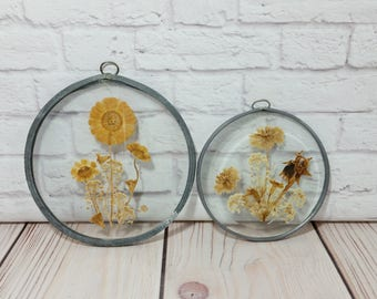 Vintage Framed Leaded Glass Dried Flower Specimen Victorian Style Set of 2