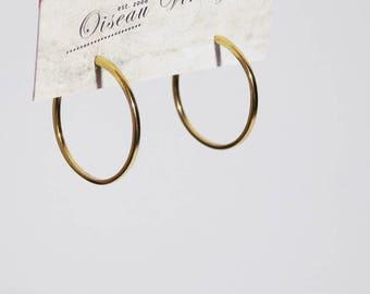 Vintage Gold Tone Oversized Hoop Stud Earrings