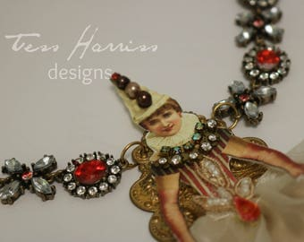 Victorian Clown Necklace . Red Crystal Necklace . Fun Costume Necklace . Red Necklace . Victorian Clown . Statement Necklace