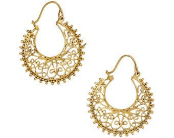 Gold Hoop earrings,Bohemian Jewelry,Filigree Gold hoops,BOHO EARRINGS,Tribal Brass earrings,minimalist earrings YH0625G