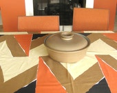 Modernist Mid-Century LINEN Tablecloth - 78-inch Oval - Brown Black and Orange Geometric Print - Excellent Condition