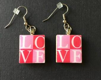 Love Earrings, scrabble tile earrings, handmade scrabble tile earrings, surgical steel ear wires, LOVE handmade earrings, valentine gift