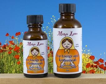 Energy, Enthusiasm, Flower Essence Aromatherapy Oil for Body, Bath, Massage, Reiki-Infused, Organic