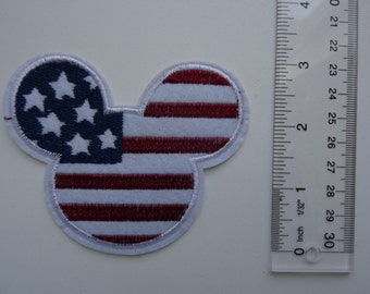 Disney Embroidered Iron On /Sew On Applique Patch - Mickey Mouse Flag