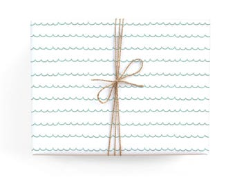 Turquoise Scallops Gift Wrap Set