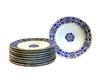 Very Old, Fine Royal Vienna Plate Set   Antique Blue and White China   Authentic Shield Beehive Mark   Vintage Dinner Plates
