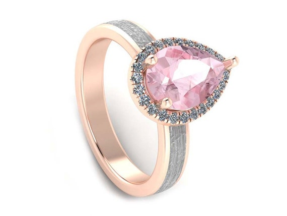 Morganite Engagement Ring Tear Drop Stone Engagement Ring