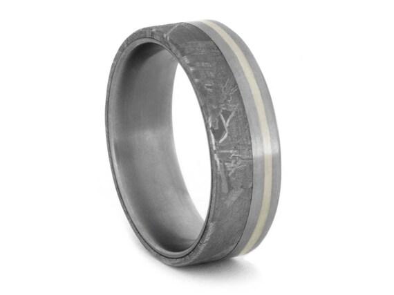 Gibeon Meteorite Ring With a 10k White Gold Pinstripe, Titanium Wedding Band For Men or Women