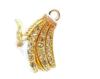 Banana Charm with Rhinestones and Link Gold-tone