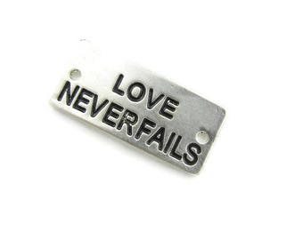 Love Never Fails Double Link Antique Silver-tone Slightly Curved Message Bar