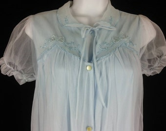 Vtg 60s blue short chiffon overlay robe size 38 to 40