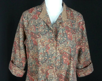 Vintage 70s floral paisley print tent dress by Anjac of California size medium M chest 38 hips 48