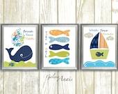Bathroom art, Nautical Wall Decor, Take Brush Wash, Whale Nursery art, Boat, fish, blue navy green, bathroom decor, Set of 3 prints