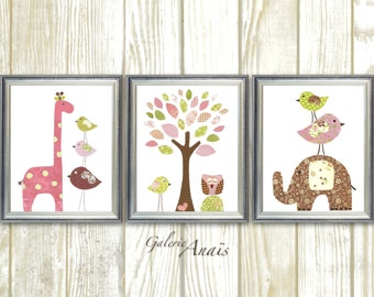 Nursery wall art girl, baby nursery decor, kids art, tree owl elephant, giraffe, Bird Pink Brown, Set of 3 prints