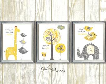 Baby boy nursery art print - baby nursery decor - Kids art - yellow gray elephant giraffe - First we had each other Set of three prints