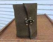 Small leather journal /with handmade paper