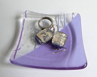 Fused Glass Ring Dish in Lavender Transparent and Collage Glass by BPRDesigns