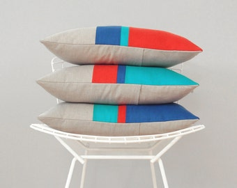 CUSTOM Striped Pillow Cover Set of 3 (select your stripe colors) by JillianReneDecor - Modern Home Decor - Cobalt, Turquoise, Poppy