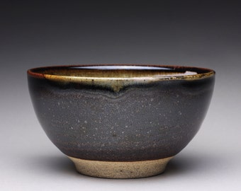 handmade pottery bowl,ceramic bowl, serving bowl with black tenmoku and rosy red ash glazes
