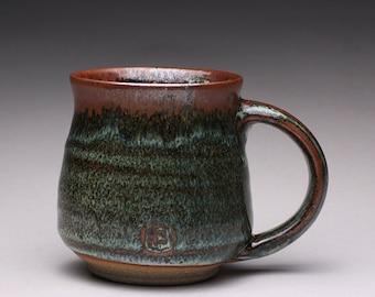 handmade pottery mug, ceramic teacup, coffee cup with wood ash glazes