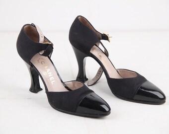 CHANEL Vintage Black Canvas DORSAY pumps heels shoes w/ cap toe sz 39 1/2
