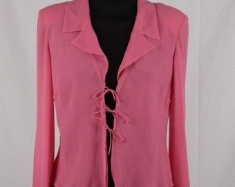 GIORGIO GRATI Vintage Pink Silk BLOUSE Shirt lace up front size 42