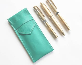 Leather Pen Holder - Green