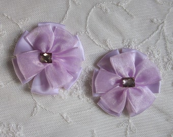 2pc Beaded w Stone Orchid Satin Organza Ribbon Flower Applique Baby Doll Bridal Corsage Bow