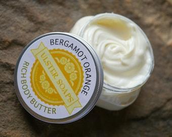 Bergamot Orange Body Butter-dry skin/natural cream/thick lotion/hand creme/earl grey/soft skin/soft hands/orange lotion/moisturizing/lotion